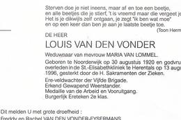 Doodsbrief Van Den Vonder Louis (x Maria Van Lommel) , Noorderwijk 1920 - Herentals 1996 , Veldwachter, Weerstander - Religion & Esotérisme