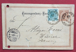 REPUBBLICA CECA CORRESPONDENZ  KARTE  AUSTRIA 2kr. DA GABLONZ  JABLONEC NAD NISOU ZURICH ZURIGO Il 19/7/1891 - Repubblica Ceca