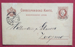 REPUBBLICA CECA CORRESPONDENZ  KARTE BIGLIETTO POSTALE  AUSTRIA 2kr. CON JELENÍ + ZNAIM  ZNOJMO IN DATA 11/5/1882 - Unclassified