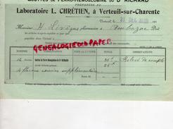 16 - VERTEUIL SUR CHARENTE - FACTURE LABORATOIRE L. CHRETIEN - GOUTTES DE FERRO-HEMOGLOBINE DU DR. RICHARD - 1913 - France
