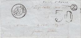 LETTRE.    15 SEPT 54 .    SEINE INFERIEURE  AUMALE.     BOITE  RURALE  =   Z   ESCLES-ST PIERRE    / 81 - 1849-1876: Période Classique