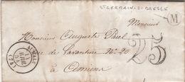 LETTRE.    14 AVRIL 54 .    SEINE INFERIEURE  AUMALE.     BOITE  RURALE  =   M   ST GERMAIN-S-BRESLE    / 81 - 1849-1876: Période Classique