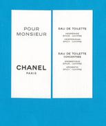 Cartes Parfumées  Carte CHANEL  POUR MONSIEUR  De  CHANEL - Perfume Cards