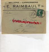 16 - COGNAC - ENVELOPPE E. RAIMBAULT - 23 RUE D' ALGER- SELLERIE  CARROSSERIE- 1916 - France