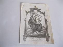 R.S.ROSARI Con Bambino Vecchia Incisione Dell 800 - Religion & Esotérisme
