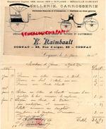 16 - COGNAC -BELLE FACTURE  E. RAIMBAULT -23 RUE D' ALGER-SELLERIE CARROSSERIE-1916 VOITURE AUTOMOBILE - A MME DE JARNAC - France