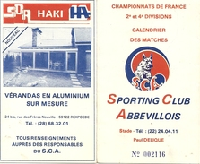 80100 ABBEVILLE - CALENDRIER DU CHAMPIONNAT DE FRANCE FOOTBALL 1984/1985 DU SPORTING CLUB ABBEVILLOIS - Programas