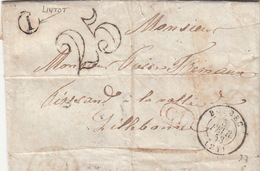 LETTRE.    5 FEVR 53 .    SEINE INFERIEURE   BOLBEC.   BOITE RURALE  =    I   LINTOT    / 83 - 1849-1876: Période Classique
