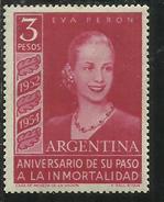 "ARGENTINA 1954 EVA PERON 3 PESOS Watermarked ""RA In Sun With Straight Rays"" MNH - Nuovi"