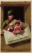 6 Cards C1900 Chocolat Devinck Letters Letters De Présentation Chargée Baptême Payse Mariage Amie Litho - Chocolat