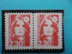 TIMBRE FRANCE : 2614e MARIANNE ( FAUX De MARSEILLE Dentelé 11) En Paire  ,XX, Timbre En Très Bon état - Varieties: 1980-89 Mint/hinged