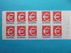 TIMBRE FRANCE:3215Aa,EURO Carnet,(COLLE Sur La COUVERTURE Et Non Sur Le TIMBRE),PEU CONNU  ,XX, - Variétés: 1990-99 Neufs