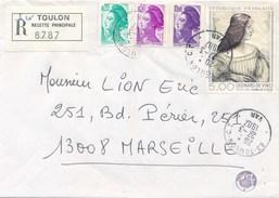Timbre Léonard De Vinci Oblitération 1987 Toulon Recette Principale  Et Préfecture Du Var ( Petit Tampon ) - Errors & Oddities