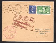 1er Transport Aérien De Courrier Postal Sans Surtaxe Dans Le Service Intérieur - Poststempel (Briefe)