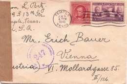 TEXAS 1946 - 2 Fach Frankerter Flugpost Zensurbrief (ohne Inhalt) Gel.n.Wien - 1845-47 Emissions Provisionnelles