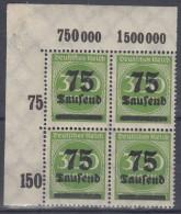 INFLA 286, 4erBlock P OR Eckrand, Postfrisch **