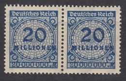 """INFLA 319 A P, Waagerechtes Paar, Postfrisch **, Mit Abart: Kreis über Der """"2"""" Geschlossen - Germany"""