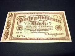 ALLEMAGNE 50 Millionen / 50000000 Mark 18/09/1923 , Pick N° S 1016  , GERMANY REICHSBAHN - [ 3] 1918-1933: Weimarrepubliek
