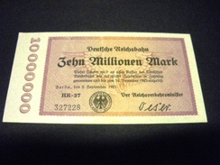 ALLEMAGNE 10 Millionen / 10000000 Mark 02/09/1923 , Pick N° S 1014  , GERMANY REICHSBAHN - [ 3] 1918-1933 : République De Weimar