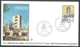 1996 ITALIA FDC FILGRANO ABBAZIA DI FARFA NO TIMBRO ARRIVO - SV3 - 1946-.. République