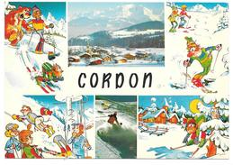 74 - Le MASSIF DU MONT BLANC Vu De CORDON - Ed. André N° 74 CNH G 12 - Carte Illustrée Multivues Ours Ski - Autres Communes