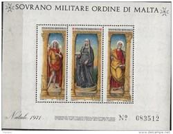 PIA - SMOM - 1971 : Natale -  Trittico Di Liberale Da Verona - (UN Foglietto 4) - Sovrano Militare Ordine Di Malta