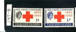 "FALKLAND ISLANDS 1963 ""RED CROSS"" MNH #147 - 148 - Falkland"