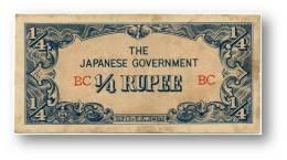 BURMA ( Now Myanmar ) - WWII - Japanese Occupation - 1/4 Rupee - ND ( 1942 ) - P 12 - Serie BC - Myanmar