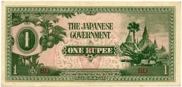 BURMA ( Now Myanmar ) - WWII - Japanese Occupation - 1 Rupee - ND ( 1942 ) - P 14.b - Serie BD - Myanmar