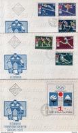 OLYMPIC GAMES - SAPPORO 6 V + S/S - 3 FDC BULGARIA / Bulgarie  1971