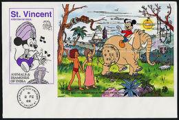 St Vincent 1140 On FDC - Disney, Elephant, Animals, Mickey Mouse - St.-Vincent En De Grenadines