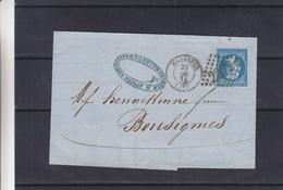 France - Lettre De 1864 - Oblit Maubeuge - Exp Vers Bousignies - Cachets De Cousolre Et Jeumont - 1862 Napoléon III.