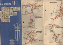 CARTE ROUTIERE  B.V. KARTE 11   1936   PLANS PFORZHEIM   OFFENBURG  FREIBURG  STUTTGART  KONSTANZ TUBINGEN  BADEN BADEN - Carte Stradali