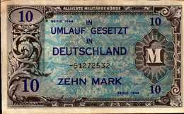 ALLEMAGNE OCCUPATION ALLIEES WW II  10 MARK De 1944 Pick 194  XF/SUP - [ 5] 1945-1949 : Allies Occupation