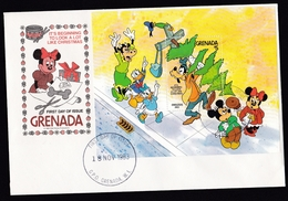 Grenada: FDC First Day Cover, 1983, Souvenir Sheet, Disney, Mickey Mouse, Donald Duck, Goofy, Christmas (traces Of Use) - Grenada (1974-...)