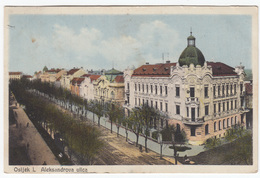 Osijek Aleksandrova Ulica Alexander Street Old Postcard Travelled 1928? B170203 - Croatie