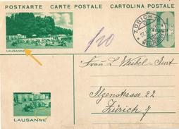 """PK 128  """"Lausanne"""" Zürich Wollishofen  (Druckabart)                 1932 - Interi Postali"""