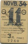 Deutschland - Berlin - Schülermonatskarte Zur Fahrt Auf Der Stadt- U. Ringbahn - S-Bahnverkehr 3. Kl. - Novb. 1934 - Bahn