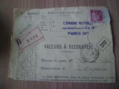 Devant D'envoi Recoimmandé Valeurs à Recouvrer Paris 25/01/1934 Pour Pré En Pail 27/01/1934 Le  N° 289 Perforé EM Seul ! - Perforés