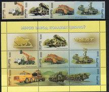 BELARUS 1999 Civilian And Military Vehicles Set Of 4 And Block MNH / **.  Michel 303-06, Kb I - Belarus