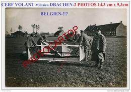 CERF VOLANT Militaire-DRACHEN-2x PHOTOS Allemandes-Guerre 14-18-1 WK-Aeronautique-Militaria-FLANDERN-Belgien-!!?- - War 1914-18