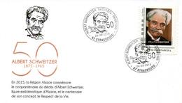 STRASBOURG (BAS RHIN) : Oblitération Temporaire 2015 Albert SCHWEITZER Sur Enveloppe Illustrée MONTRIMBRAMOI CONCORDANT