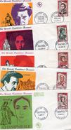 France 1961 5 Fdc Grands Acteurs Et Comédiens Célèbres Raimu G. Philipe Talma Rachel Champmesle (0057)