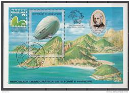 0519 S. Tome E Principe 1979 Expo Brasiliana Zeppelin Rowland Hill Foglietto Perf. - Rowland Hill