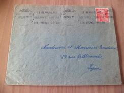 Lettre De Villefranche 23/10/1949 Pour Lyon Avec Le 813 Seul Et Flamme Le Beaujolais Ses Sites Son Vin Ses....B/ TB