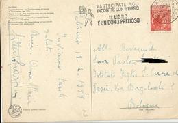 TIMBRO SU CARTOLINA PARTECIPATE AGLI INCONTRI CON IL LIBRO IL LIBRO E' UNO PREZIOSO 1957 - Timbri Generalità