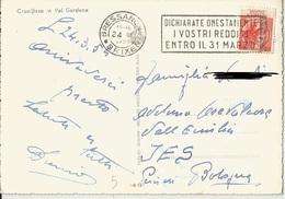 TIMBRO SU CARTOLINA DICHIARATE ONESTAMENTEI VOSTRI REDDITI ENTRO IL 31 MARZO 1954 - Timbri Generalità