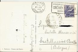 TIMBRO SU CARTOLINA PROFUMO ORCHIDEA BIANCA GARMELLA IMPERIA 1949 - Timbri Generalità
