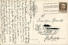 TIMBRO SU CARTOLINA MOSTRA RIVOLUZ. FASCISTA ROMA 1933 - Timbri Generalità