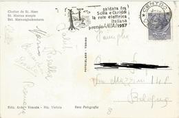 TIMBRO SU CARTOLINA SALDATA FRA SCILLA E CARIDDI LA RETE ELETTRICA ITALIANA PREMIO ANIA 1957 - Timbri Generalità